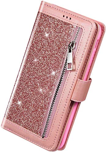 Herbests Kompatibel mit Huawei P40 Handyhülle Handytasche mit 9 Kartenfächer Handschlaufe Leder Hülle Reißverschluss Magnet Luxus Bling Glänzend Multifunktions Flip Case,Rose Gold
