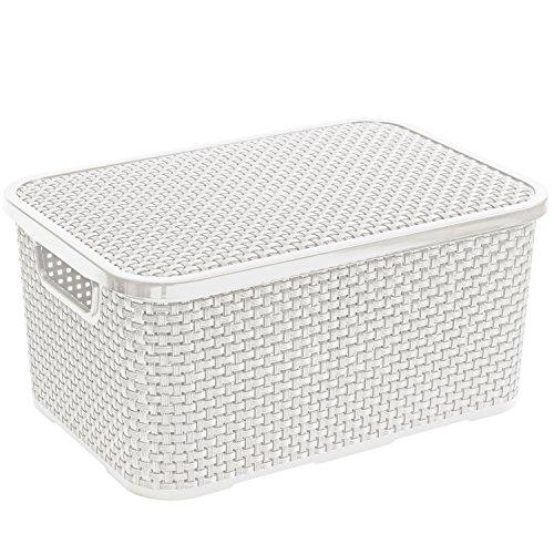 Branq Rattan Aufbewahrungsbox mit Deckel Box Kiste (10L, Weiß)