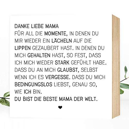 Wunderpixel® Holzbild Danke liebe Mama - v2 15x15x2cm zum Hinstellen/Aufhängen, echter Fotodruck mit Spruch auf Holz - schwarz-weißes Wand-Bild Aufsteller zur Dekoration/Geschenk - Danke-schön