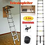 Teleskopleiter 3,2 M tragbar Faltbar Leiter 11 Stufen aus Aluleiter Rutschfester Leiter Klappleiter Dachbodenleiter Mehrzweckleiter 150 kg Belastbarkeit