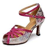 YKXLM Salón de Baile Latino para Mujer Zapatos de Baile Modernos Salsa Performance Piel de Serpiente Fiesta de Boda sintética Zapatos de Baile de Tango,Modelo QJW5002-7.5,Rose Red,35 EU