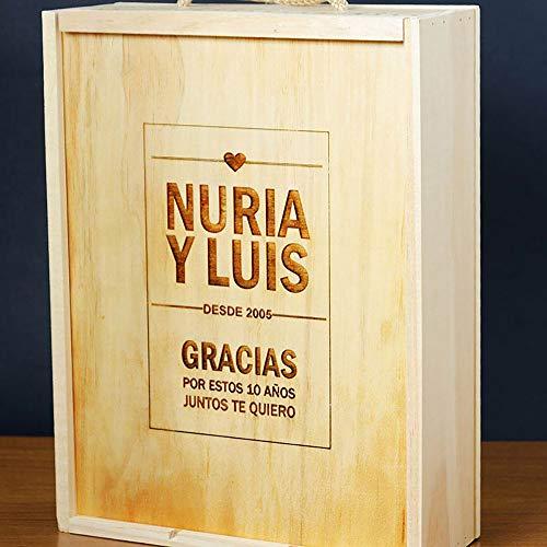 Calledelregalo Regalo Personalizable para Aniversario, Bodas de Oro, Bodas de Plata: Caja para Tres Botellas de Vino grabada con Nombres, año y dedicatoria
