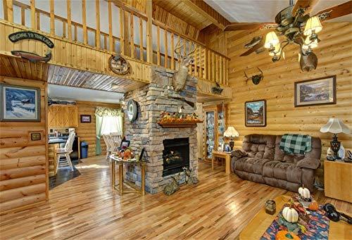 MMPTn 10x8ft Traditionelle Villa Wohnzimmer Innenraum Hintergrund Holz Wal House Parkett Deckenleuchte Sofa Frame Stein Kamin Hintergrund für Fotografie Fotostudio Requisiten
