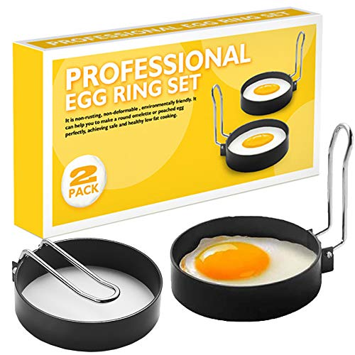 Cdycam Non-Stick Egg Rings,2pcs Stainless Steel Egg Rings Mould for Fried and Poached Eggs, Crumpets,Mini Pancakes, Omelettes and Yorkshire Puddings,Black