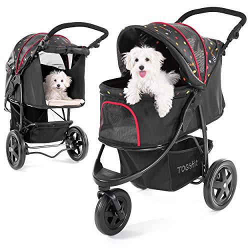 TOGfit Pet Roadster - Luxus Hundewagen & Haustier Buggy bis 32 kg - große Räder, flexible Schieberhöhe, inkl. Liegematratze, klein faltbar - Schwarz
