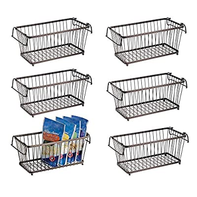 mDesign Stackable Metal Food Storage Basket with Handles, 6 Pack by