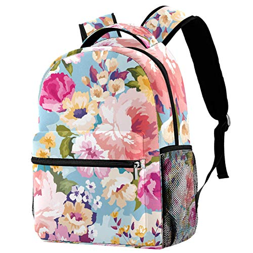 12' School Backpack, Unisex Classic Backpack for Men Women (11.5x8x16 in),Blue Beautiful Floral