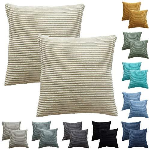 Funda Cojin 45*45 cm Juego de 2, Fundas Cojines de Pana se Utilizan para Cojines Decorativos para Sofa, Cojines Sofa, Cojines, Fundas de Cojines en Muchos Colores (Blanco crema-2piezas, 45*45cm)