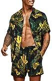 COOFANDY Men's Hawaiian Set Casual Floral Print Shirt Summer Shirt and Shorts Black