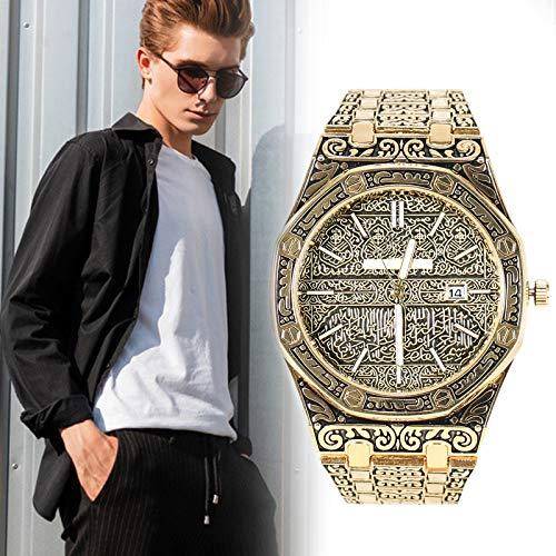 shadiao Herrenuhr, Mecca Edition Vintage Geschnitzte Uhr, luxuriöse islamische Armbanduhr für Herren Business, wasserdichte Designer-Armbanduhr aus Edelstahl, Elegantes Geschenk für Herren