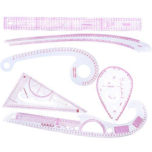 Junye 6-delige naairegelset, praktisch, Franse naaiing, bochten, liniaal, messen, adapter, snijder, tekening, gereedschap