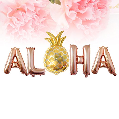 LUOEM 3 Sets Hawaiian Party Foil Balloons 16Inch Metallic Mylar Balloon Decorations Aloha Party Favors Supplies (Rose Gold)