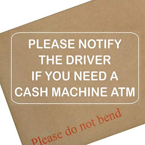 1x benachrichtigen Sie Treiber, wenn Sie brauchen eine Cash Maschine atm-white auf Klar Externe Taxi, Mini, CAB, Cash, Maschine, Point, Bank, Shop, Geschäften, Aufkleber, Pinnwand, Zeichen, werden