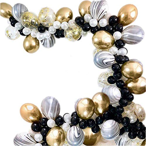 Black White Gold Balloons Arch Kit with Gold Metallic Balloons, Marble Balloons for Graduation 2021 Party Supplies Wedding Birthday Bachelor Bridal Party, Great Gatsby Party, Hollywood Party, 1920 Party Décor