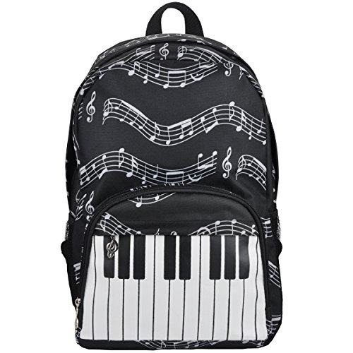 Punk Oxford-Rucksack mit Musiknoten-Druck für die Schule, stilvoller Kunstrucksack, Reiseumhängetasche Keyboard black