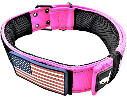 Dog Collars K9 Harness Tactical Military Style - 2' Two Inch Wide Heavy Duty Thick Nylon Webbing For Strong Large XL Big Dogs - Metal Two Pin Belt Buckle - USA American Flag Patch (12'-20', PINK)