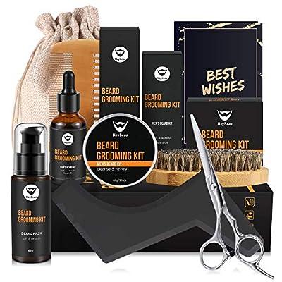 Beard Balm Kit MayBeau 8 Pcs Beard Grooming Kit for Men with Beard Oil Beard Balm Beard Wash Wooden Beard Comb Beard Brush Scissors Shape Tool Canvas Bag Gift Set for Beard Care by MayBeau