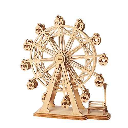Rolife Wooden Model Kits for Adults and Teens, 3D Puzzles Adult Craft Kits, Woodcraft Construction Kits-Ferris Wheel