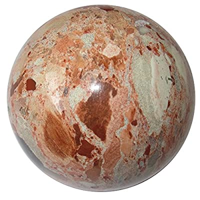 Satin Crystals Picture Jasper Sphere Crystal Healing Ball Mosaic Picasso Artist Energy Gazing Stone P01 (1.6 Inch)