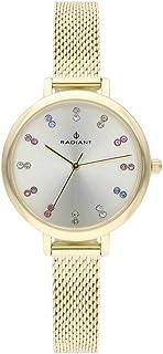 Reloj analógico para Mujer de Radiant. Colección Selene. Reloj Dorado con Esfera Plata con pedrería Multicolor. 3ATM. 32m...