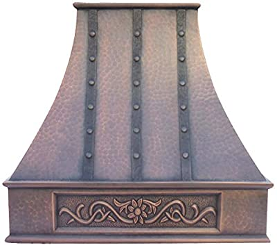 Handcrafted Copper Kitchen Hood with Professional Range Hood Insert Sinda H7LTRA