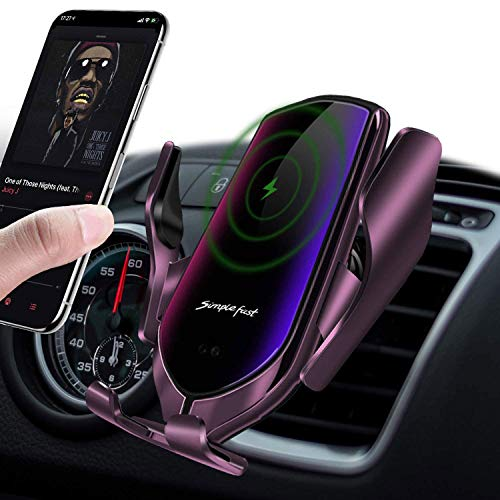 LUKKAHH R2 Wireless Car Charger Mount,Auto-Clamping Air Vent Phone Holder,10W Qi Fast Car Charging,Compatible iPhone 11/11 Pro/11 Pro Max/XS/XS Max/X/8/8+, Samsung Note9/Note10/S9+/S10+(Gun-Plated……