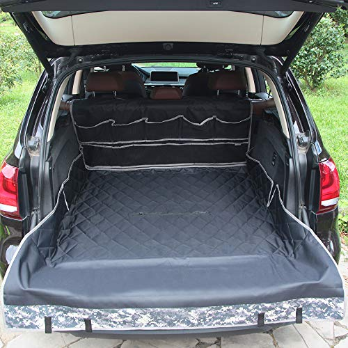 WINBATE 100% Waterproof SUV Cargo Liner 2 in 1 Seat Covers for Dogs with Storage Dog Seat Covers for Back Seat & Trunk, Scratchproof & Nonslip & Heavy Duty Machine Washable Universal Fit