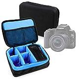 DURAGADGET Bolsa Acolchada Profesional Negra con Compartimentos e Interior en Azul clarito para Cámara Canon EOS 250D