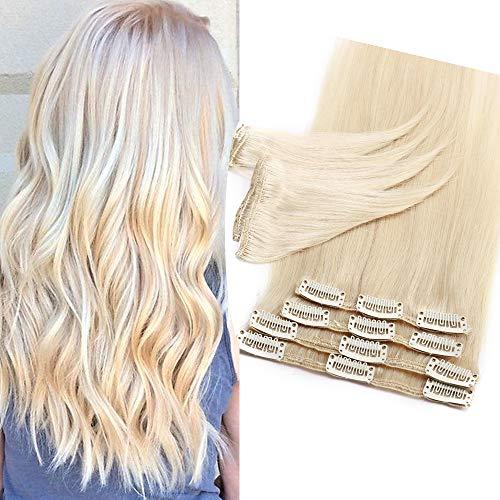 Extensions Echthaar Clip In 100% Remy Echthaar Haarverlängerungen Glatt 8 Tressen 18 Clips Dünn 55cm/75g (#60 platinblond)