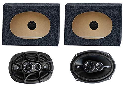 """2) Kicker 41DSC6934 6x9"""" 360W Car Speakers + 2) QTW6X9 Angled 6x9"""" Speaker Box"""
