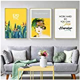 Nordic Plant Flowers wall art Canvas Painting Prints Posters Figuars Pictures for Living Room Morden contratado Home Decor-50x70cmx3 Sin marco
