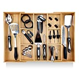 "Pristine Bamboo Expandable Drawer Organizers for Kitchen - Extra Deep Non-Slip 17"" x 14.6"" (expands up to 25 inches) - Dark Wooden Silverware Divider (10 Compartments) – Organize Cooking Utensils"