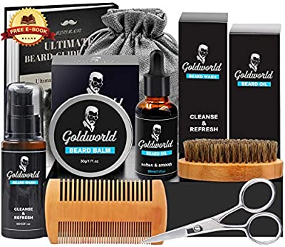 GoldWorld Beard Grooming Kit w/Beard Baubles,Beard Shampoo/Wash,Beard Oil,Beard Balm,Beard Comb,Beard Brush,Shaper,Scissors,Christmas Keychain,Storage Bag,E-book,Beard Growth Care Gifts Set for Men from GoldWorld