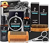 Beard Care & Grooming Kit w/Free Beard Wash/Shampoo,Unscented Beard Oil,Beard Balm,Beard Comb,Beard Brush,Beard