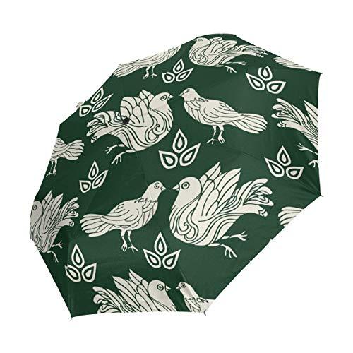 XiangHeFu Paraplu Duif Duiven Groen Auto Open Sluiten 3 Vouwen Lichtgewicht Anti-UV