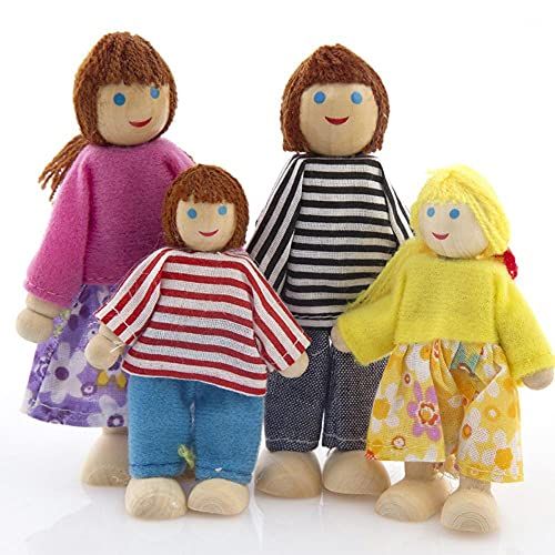 XKMY Juguetes de marionetas de madera para niños y bebés, de madera, para niños, para niños, 4/6/7 personas (color 4 personas)