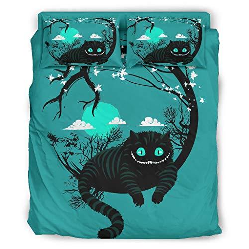 Qunrontan Smiley gato cálido colcha juego de ropa de cama más suave calidad hotel para la universidad dormitorio blanco 175x218cm
