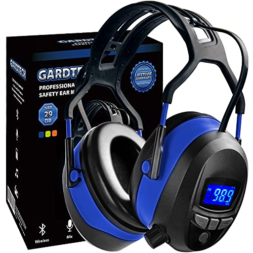 Wireless Cancel Bluetooth Rechargebale FM Radio Headphones, NRR 29dB Ear Protection Safety Ear Muffs with Built-in Mic, Memory Card, LCD Display, Li-on Battery for Gunshooting, Mowing Lawn