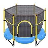 Trampoline Exterieur Enfant Adulte,48 pouces Trempoline d'extérieur Intérieur avec filet de Sécurité,Stable Muet Trampoline Fitness Adulte d'exercice de Jardin d'entraînement Cardio-250kg,Bleu