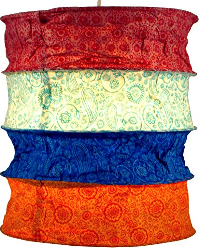 Guru-Shop Ronde Papieren Hanglamp, Lokta Papieren Lampenkap Kailash, Handgeschept Papier - Blauw/rood, Lokta-papier, 35x28x28 cm, Aziatische Plafondlampen Papieren Lampen Stof