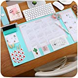 Z IMEI Anti-Slip Desk Mat Protector Large Size Desk Mouse Pad Waterproof Keyboard Pad with Smartphone Stand Pockets Dividing Rule 2019-2020 Calendar and Pen Groove-Mint Green 32x65cm/13x26inch
