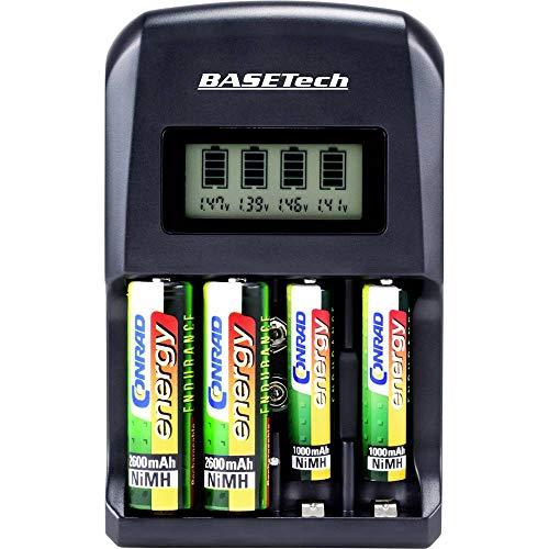 Basetech BTL-4 Rundzellen-Ladegerät NiMH, NiCd Mignon (AA), Micro (AAA), 9 V Block