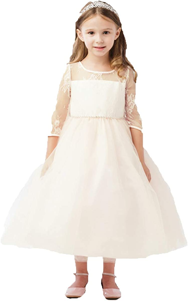 5664 Illusion Neckline w/Lace Embellishment 3/4 Sleeve Dress