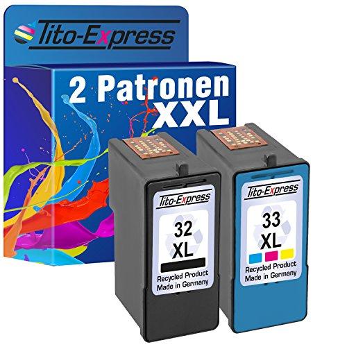 Tito-Express PlatinumSerie Set 2x Druckerpatrone für Lexmark 32 XL & 33 XL X5210 X3380 X5200 X5210 X5250 X5260 X5270 X5400