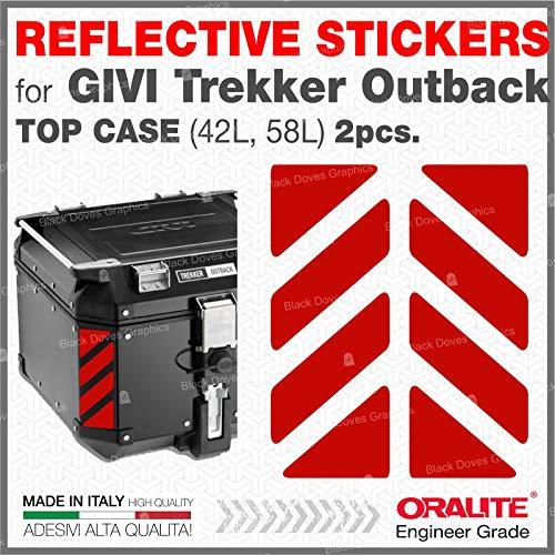 2pcs RIFRANGENTI ADESIVI compatibile con GIVI Monokey Trekker Outback Bauletto Alluminio TOP CASE 37 42 48 L (Red 030)