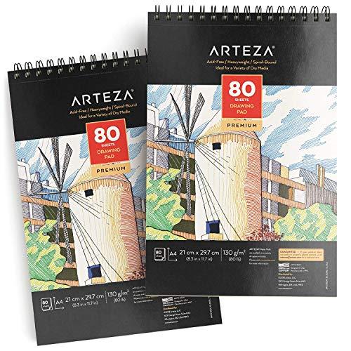 Arteza Zeichenblock A4, Skizzenblock mit Spiralbindung je 80 Blatt im 2er-Pack, weißes 21x29.7 cm Zeichenpapier, Künstler Malblock für Profis und Anfänger