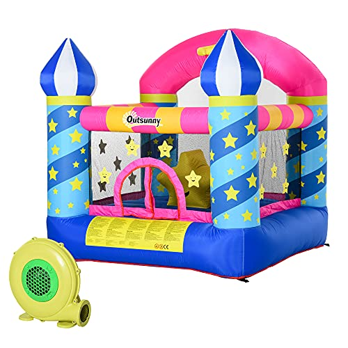 Outsunny Kids Bounce Castle House Inflatable Trampoline Basket with Inflator for Age 3-10 Castle Stars Design 2 x 2 x 2.1m