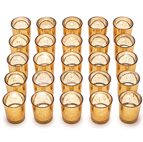Granrosi Gold Mercury Votive Candle Holder Set of 25 - Mercury Glass Tealight Candle Holder with A Speckled Gold Finish - The Perfect Wedding Centerpieces for Tables Or Home Decoration