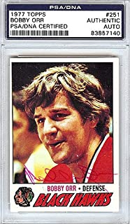 Bobby Orr Signed 1977 Topps Trading Card #251 Chicago Blackhawks - PSA/DNA Authentication - NHL Hockey Cards