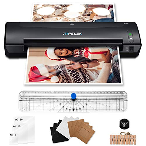 TOPELEK Plastificadora A3, Máquina de Plastificar 5 en 1, 400mm/min, 30 Plásticos A3/A4/A5, cortador de papel, redondeador de esquina, 10 Marcos de fotos, 2 min de precalentamiento, casa y oficina